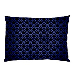 Scales2 Black Marble & Blue Brushed Metal Pillow Case by trendistuff