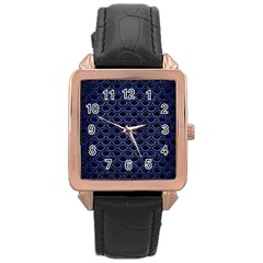 Scales2 Black Marble & Blue Brushed Metal Rose Gold Leather Watch  by trendistuff