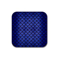 Scales1 Black Marble & Blue Brushed Metal (r) Rubber Square Coaster (4 Pack) by trendistuff