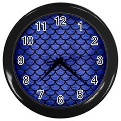 Scales1 Black Marble & Blue Brushed Metal (r) Wall Clock (black) by trendistuff