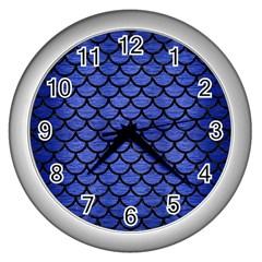 Scales1 Black Marble & Blue Brushed Metal (r) Wall Clock (silver) by trendistuff