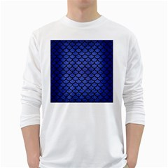 Scales1 Black Marble & Blue Brushed Metal (r) Long Sleeve T Shirt by trendistuff