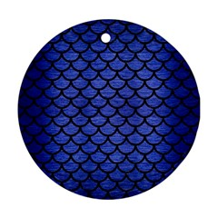 Scales1 Black Marble & Blue Brushed Metal (r) Round Ornament (two Sides) by trendistuff