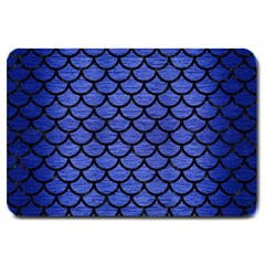 Scales1 Black Marble & Blue Brushed Metal (r) Large Doormat by trendistuff