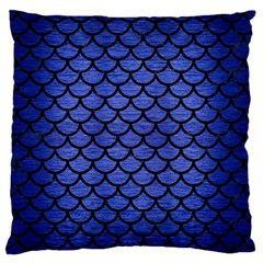 Scales1 Black Marble & Blue Brushed Metal (r) Large Flano Cushion Case (one Side) by trendistuff