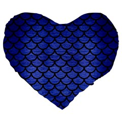 Scales1 Black Marble & Blue Brushed Metal (r) Large 19  Premium Flano Heart Shape Cushion by trendistuff