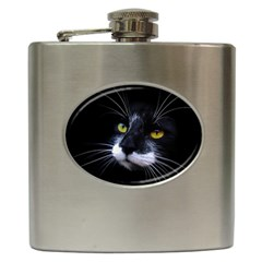 Face Black Cat Hip Flask (6 oz)