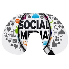 Social Media Computer Internet Typography Text Poster Travel Neck Pillows by Gogogo