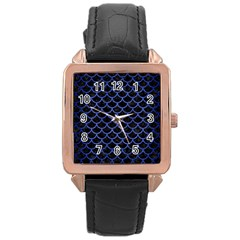 Scales1 Black Marble & Blue Brushed Metal Rose Gold Leather Watch  by trendistuff