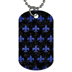 Royal1 Black Marble & Blue Brushed Metal (r) Dog Tag (two Sides) by trendistuff