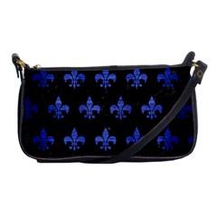 Royal1 Black Marble & Blue Brushed Metal (r) Shoulder Clutch Bag by trendistuff