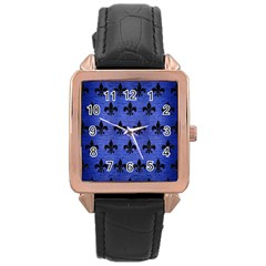 Royal1 Black Marble & Blue Brushed Metal Rose Gold Leather Watch  by trendistuff