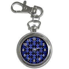 Puzzle1 Black Marble & Blue Brushed Metal Key Chain Watch by trendistuff
