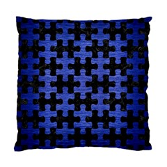 Puzzle1 Black Marble & Blue Brushed Metal Standard Cushion Case (one Side) by trendistuff