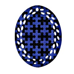 Puzzle1 Black Marble & Blue Brushed Metal Oval Filigree Ornament (two Sides) by trendistuff