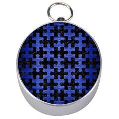 Puzzle1 Black Marble & Blue Brushed Metal Silver Compass by trendistuff