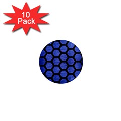 Hexagon2 Black Marble & Blue Brushed Metal (r) 1  Mini Magnet (10 Pack)  by trendistuff