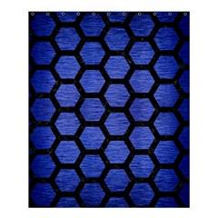 Hexagon2 Black Marble & Blue Brushed Metal (r) Shower Curtain 60  X 72  (medium) by trendistuff