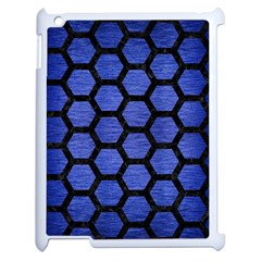 Hexagon2 Black Marble & Blue Brushed Metal (r) Apple Ipad 2 Case (white) by trendistuff