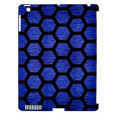 Hexagon2 Black Marble & Blue Brushed Metal (r) Apple Ipad 3/4 Hardshell Case (compatible With Smart Cover) by trendistuff