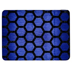 Hexagon2 Black Marble & Blue Brushed Metal (r) Samsung Galaxy Tab 7  P1000 Flip Case by trendistuff