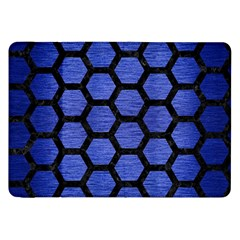 Hexagon2 Black Marble & Blue Brushed Metal (r) Samsung Galaxy Tab 8 9  P7300 Flip Case by trendistuff