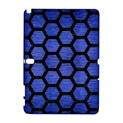 Hexagon2 Black Marble & Blue Brushed Metal (r) Samsung Galaxy Note 10 1 (p600) Hardshell Case by trendistuff