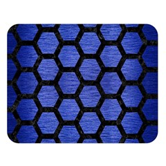 Hexagon2 Black Marble & Blue Brushed Metal (r) Double Sided Flano Blanket (large) by trendistuff