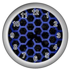 Hexagon2 Black Marble & Blue Brushed Metal Wall Clock (silver) by trendistuff