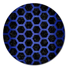 Hexagon2 Black Marble & Blue Brushed Metal Magnet 5  (round) by trendistuff