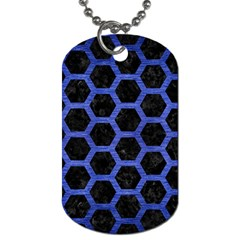 Hexagon2 Black Marble & Blue Brushed Metal Dog Tag (two Sides) by trendistuff