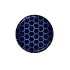 Hexagon2 Black Marble & Blue Brushed Metal Hat Clip Ball Marker by trendistuff