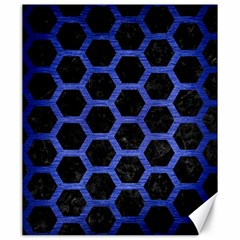 Hexagon2 Black Marble & Blue Brushed Metal Canvas 20  X 24  by trendistuff