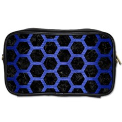 Hexagon2 Black Marble & Blue Brushed Metal Toiletries Bag (two Sides) by trendistuff