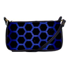 Hexagon2 Black Marble & Blue Brushed Metal Shoulder Clutch Bag by trendistuff