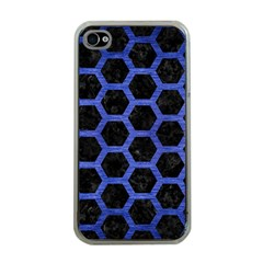 Hexagon2 Black Marble & Blue Brushed Metal Apple Iphone 4 Case (clear) by trendistuff