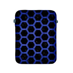 Hexagon2 Black Marble & Blue Brushed Metal Apple Ipad 2/3/4 Protective Soft Case by trendistuff