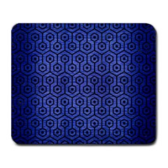 Hexagon1 Black Marble & Blue Brushed Metal (r) Large Mousepad by trendistuff