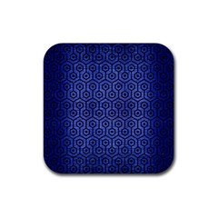 Hexagon1 Black Marble & Blue Brushed Metal (r) Rubber Square Coaster (4 Pack) by trendistuff