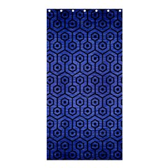 Hexagon1 Black Marble & Blue Brushed Metal (r) Shower Curtain 36  X 72  (stall) by trendistuff