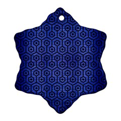 Hexagon1 Black Marble & Blue Brushed Metal (r) Snowflake Ornament (two Sides) by trendistuff