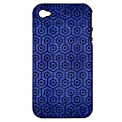 Hexagon1 Black Marble & Blue Brushed Metal (r) Apple Iphone 4/4s Hardshell Case (pc+silicone) by trendistuff