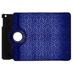 Hexagon1 Black Marble & Blue Brushed Metal (r) Apple Ipad Mini Flip 360 Case by trendistuff
