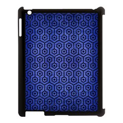 Hexagon1 Black Marble & Blue Brushed Metal (r) Apple Ipad 3/4 Case (black) by trendistuff