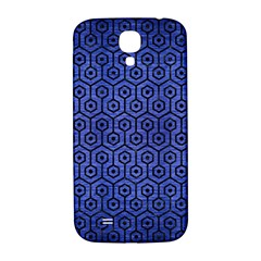 Hexagon1 Black Marble & Blue Brushed Metal (r) Samsung Galaxy S4 I9500/i9505  Hardshell Back Case by trendistuff