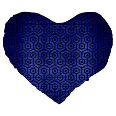Hexagon1 Black Marble & Blue Brushed Metal (r) Large 19  Premium Flano Heart Shape Cushion by trendistuff