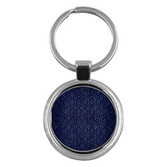 Hexagon1 Black Marble & Blue Brushed Metal Key Chain (round) by trendistuff