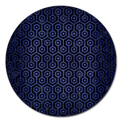 Hexagon1 Black Marble & Blue Brushed Metal Magnet 5  (round) by trendistuff