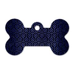 Hexagon1 Black Marble & Blue Brushed Metal Dog Tag Bone (two Sides) by trendistuff