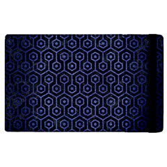 Hexagon1 Black Marble & Blue Brushed Metal Apple Ipad 2 Flip Case by trendistuff